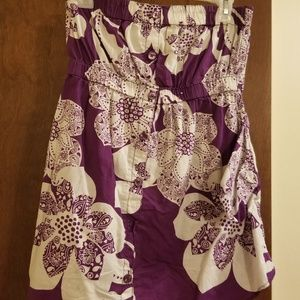 Purple and white tube top